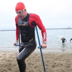 "Sixteen times Jothy has swum from Alcatraz to the San Francisco shore, braving the cold waters with other ""two leggers."" © Courtesy of EnviroSports"