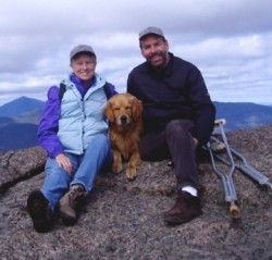 Outdoor enthusiast Jothy crutch-hiked up 2000 foot peaks in the Adirondacks with his wife Carole and his golden retriever. © private