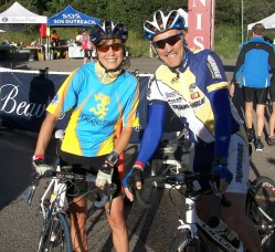 Together with Joe Friel at the start of the 100-mile Ride in Beaver Creek. Joe pulled and inspired us through the scenic course. © Take The Magic Step/Dieter Hogen
