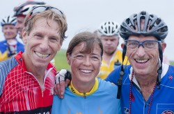 Billy Starr, Uta and Jack Fultz at the finish line in Provincetown. © John Deputy
