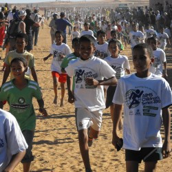 A race for children was included as part of the Sahara Marathon's events. © Pat Butcher