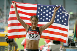 Kara Goucher, seen here after taking bronze in Osaka, won her debut half marathon. © www.photorun.net