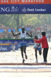Tergat winning the battle.