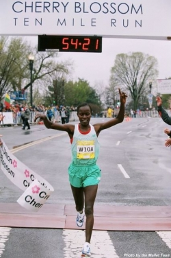 Lineth Chepkurui, seen here winning the Cherry Blossom 10-Miler, was just as dominant at Bay to Breakers. © Bob Mallet