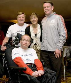 Uta, Dick and Rick Hoyt, and Jim Boyle, former president of John Hancock Financial Services. © Courtesy of Team Hoyt