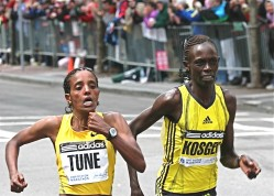 Dire Tune (left) and Salina Kosgei less than 100 feet from their dramatic marathon finish. © Courtesy of Aisling Gilliland
