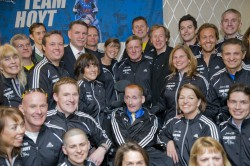 Dick and Rick Hoyt with the Hoyt Foundation runners at their pasta party. © Courtesy of Team Hoyt