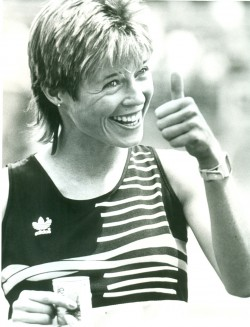 Happiness after one of her road races in the spring of 1990.  © Uta Pippig and Take The Magic Step