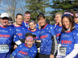 The runners of the Hoyt Foundation at the starting line a few hours before the Boston Marathon. © Courtesy of Team Hoyt/Todd Civin