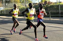 Sammy Kitwara, Dennis Kimetto, and Emmanuel Mutai. ©Bank of America Chicago Marathon