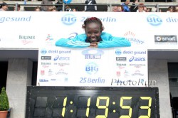 Mary became the first woman to break 1 hour 20minutes for 25K in the Big 25 Berlin. ©www.photorun.net