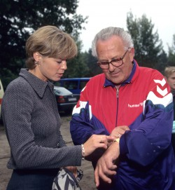 My first coach, Heinz Lüdemann, showing me his new watch during one of the youth track meets in 1996 in my hometown. © Victah Sailer/Take The Magic Step