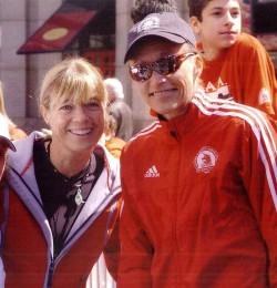 "Together with Grete at the ""Kids Run"" of the Boston Marathon 2005. ©Jim Davis"