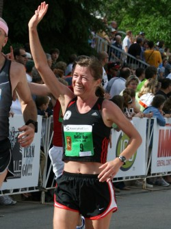 Uta, seen here at the 2008 Bellin Run, enjoyed the great atmosphere on the course. &7nbsp;Bellin Health