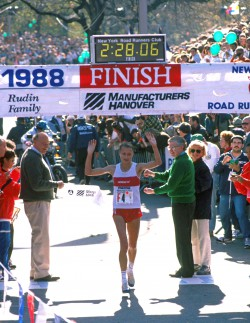 Nine unprecedented victories: 1988 was Grete's ninth win in the NYC Marathon. © www.PhotoRun.net