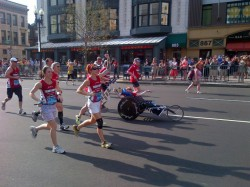 Dick, Rick, and the Team in the home stretch coming down Boylston Street. © Courtesy of Team Hoyt