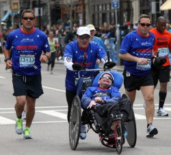 … an amazing 29th Boston Marathon finish. © Courtesy of Team Hoyt