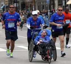 … an amazing 29th Boston Marathon finish. ©Courtesy of Team Hoyt