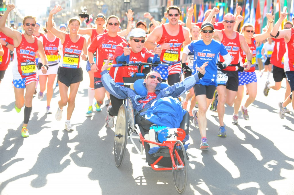 Dick and Rick on their way to the Finish Line together with their fellow Hoyt Foundation runners. © MarathonFoto