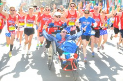 ...together with Dick and Rick and our Hoyt Foundation team at the Boston Marathon 2014. © MarathonFoto