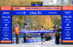 Geoffrey Mutai successfully defended his title. © www.PhotoRun.net
