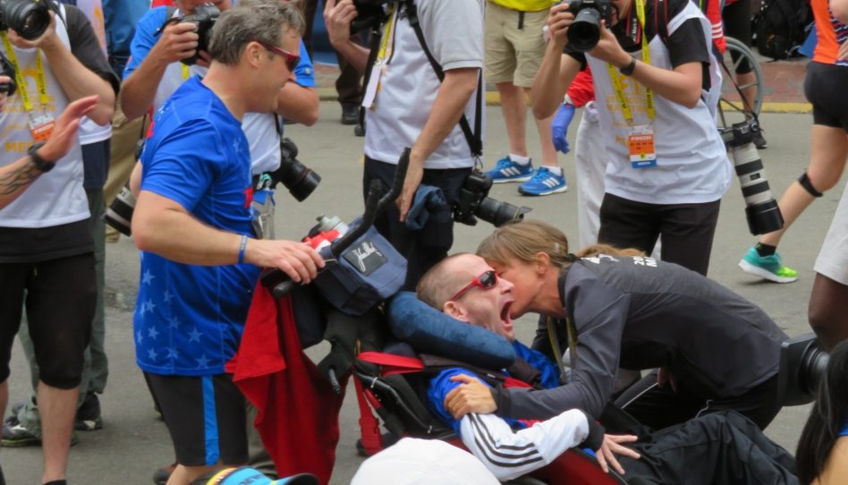 Joy on Boylston Street as Team Hoyt Brings its Last Marathoner Home