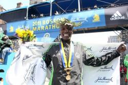 Caroline Kilel smiles after winning the 115th Boston Marathon. ©www.PhotoRun.net