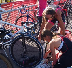 "Together with Donna Phelan, ""Dieselchen,"" explaining the T1 of my first Tri. © Take The Magic Step®"