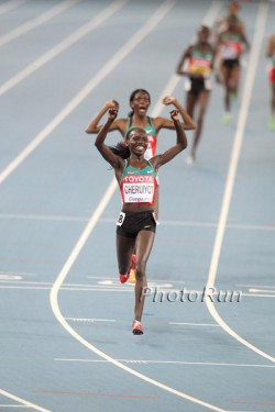 Vivian Cheruiyot edges out Sally Kipyego for the gold. © www.photorun.net