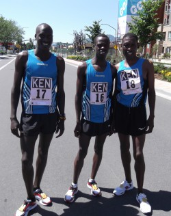 Team Kenya: Lani Rutto (left), men's winner Allan Kiprono (middle), and John Korir (right). © Take The Magic Step®