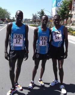Team Kenya: Lani Rutto (left), men's winner Allan Kiprono (middle), and John Korir (right). ©Take The Magic Step®