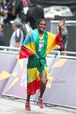 Olympic champion Tiki Gelana, pictured here at the 2012 Olympics in London, will compete in New York City. © www.PhotoRun.net