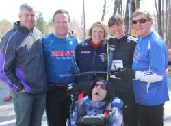 Michael Reger, Bryan Lyons, Kathy Boyer, Rick Hoyt, Uta, and Dick Hoyt. ©Sue Bray