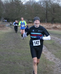 John is enjoying his cross-country event—one of many club races. © Courtesy of Blackheath and Bromley Harriers
