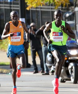 Eliud Kipchoge (right), who won the Chicago Marathon ahead of Sammy Kitwara, has the potential to improve his personal best. © Helmut Winter