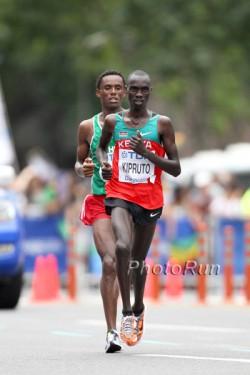 The silver and bronze medalists Vincent Kipruto and Feyisa Lelisa. ©www.PhotoRun.net