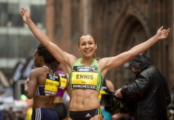The beaming British World heptathlon champion, Jessica Ennis, ran to second place in the women's 150m race. © Great CityGames/Pete Langdown