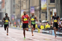 Tyson Gay won the 150 meters in Manchester. ©Great CityGames/Pete Langdown