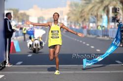Tsegaye Mekonnen set an unofficial Junior world record in Dubai. ©www.PhotoRun.net
