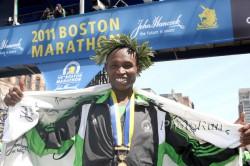 Geoffrey was overjoyed after his magnificent success at the 2011 Boston Marathon. ©www.photorun.net