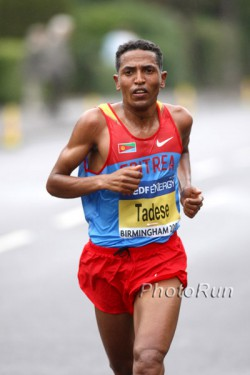 Zersenay Tadese, seen here at the 2009 World Half Marathon Championships, was the fastest out of 35,000 runners in Madrid. © www.photorun.net