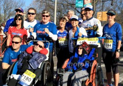 Uta together with Dick and Rick Hoyt and members of the Hoyt Foundation at the B.A.A. 5K on Saturday, April 18. © www.PhotoRun.net