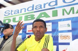 Surprising the world, Haile Gebrselassie, seen here at the press conference of the 2010 Dubai Marathon, announced his retirement on Sunday. ©www.photorun.net