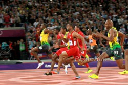 Usain Bolt, Tyson Gay, and Asafa Powell in the 100-meter final. © www.PhotoRun.net