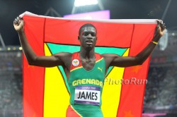 Kirani James after winning the 400 meters. © www.PhotoRun.net