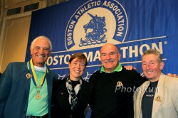 "Left to right: Alvaro Mejia, Uta Pippig, Robert de Castella, and Ron Hill at the ""Breakfast of Champions"" during the Boston Marathon weekend. © www.photorun.net"