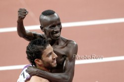 Ezekiel Kemboi and Mahiedine Mekhissi-Benabbad are celebrating after winning Gold and Silver in the 3,000m steeplechase. © www.PhotoRun.net