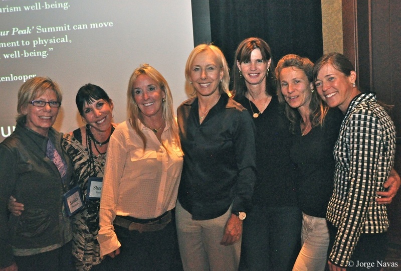 """Together with tennis player Martina Navratilova and other participants during the 2012 """"Living at Your Peak"""" Vail Health Symposium. © Jorge Navas"""